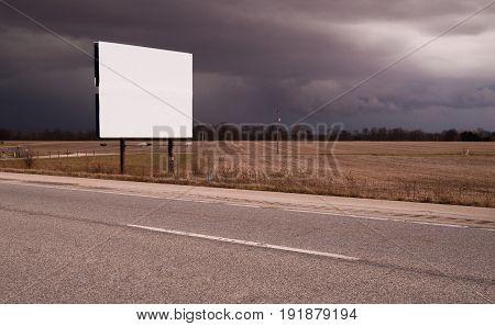 Roadside Billboard Advertising Medium Dark Stormy Skies