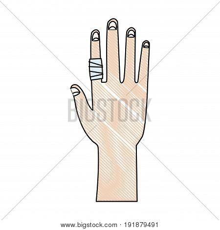 drawing human hand with finger bandage medical vector illustration