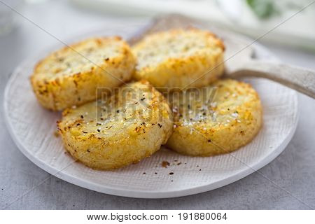 Flour potato cakes made with shredded potato, onion and seasoning