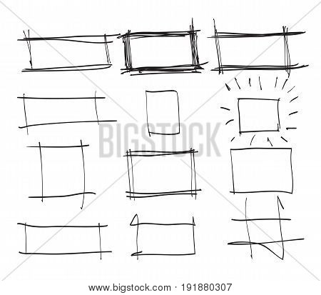 Text box and frames.Set hand drawn rectangleart illustration stock vector.jpg