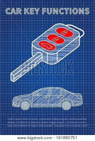 Car key functions vector illustration. Auto key features: locking unlocking tailgate blue print creative concept.