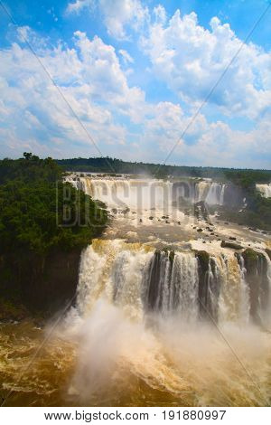 Famous Iguazu falls on the border between Argentina and Brazil