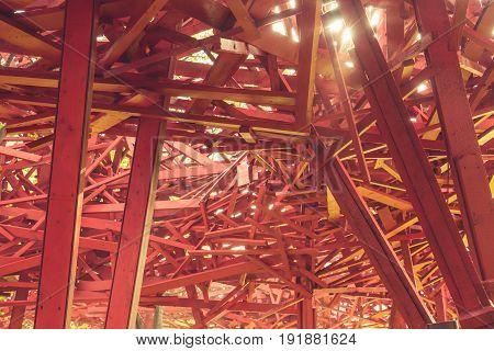 stack of red metal ,industrial waste .