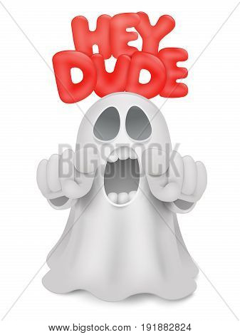 Cute phantom emoticon ghost character with index finger gesture. Vector illustration