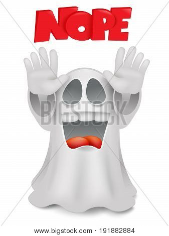 Cute phantom emoticon ghost character stop gesture. Vector illustration