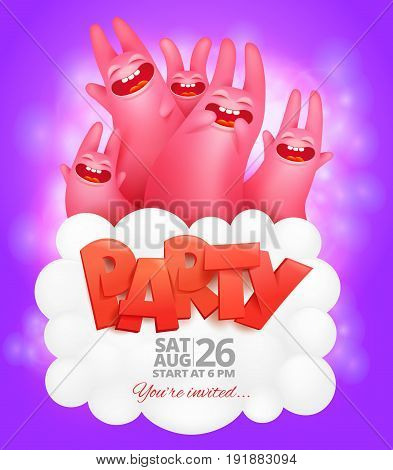 Party flyer template with dancing pink rabbits. Vector illustration