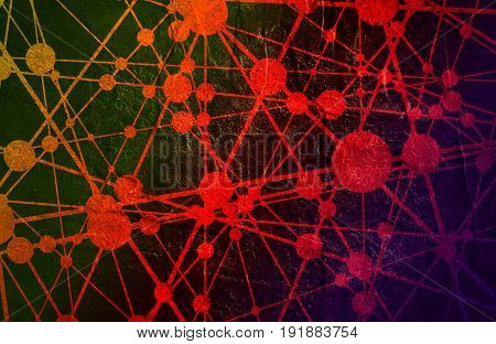 Molecule And Communication Background. Modern brochure or web banner design template. Connected lines with dots. Medical, technology, chemistry, science background. Concrete grunge texture