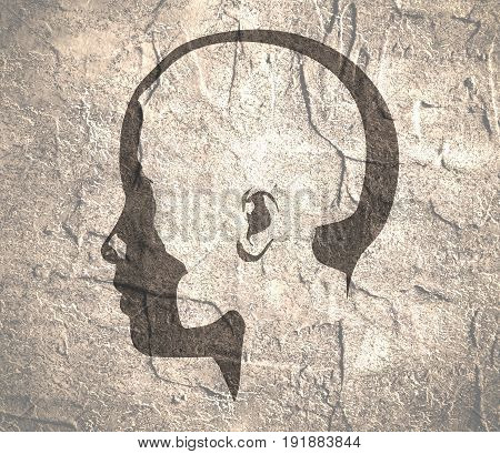 Face side view. Elegant silhouette of a female head. Monochrome gamma. Concrete grunge texture