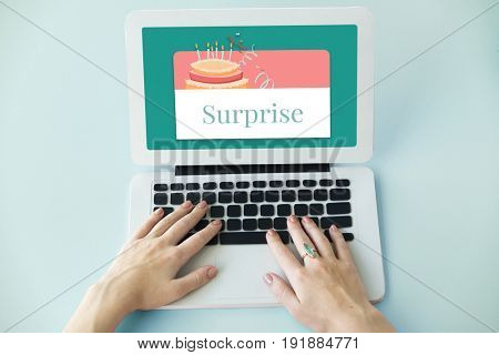 Illustration of birthday party event celebration with cake on laptop