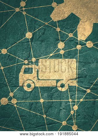 Delivery truck icon. Industrial lorry or tip truck sign. Grunge concrete texture