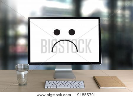 Depressive Emotions Concept,   Smiley Face Emoticon Printed.