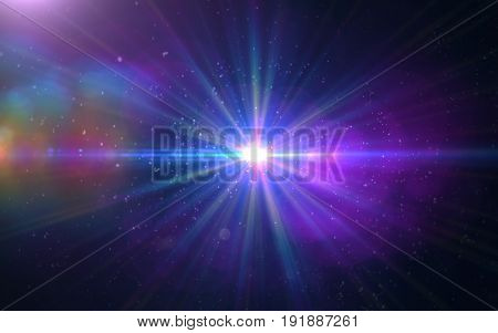 Abstract Design natural lens flare and Rays background.Abstract lens flare effect in space with horizontal black background