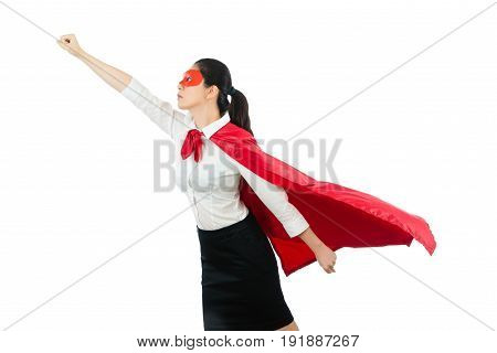 Business Woman Flying With Red Hero Clothing