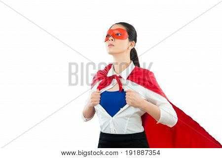 Portrait Of Superwoman Hero Opening Shirt