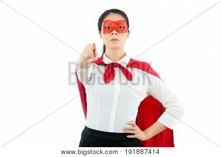 Businesswomanpointing Positive Camera