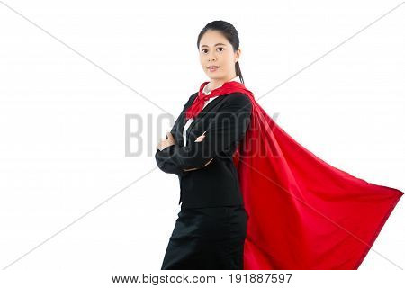 Office Female Superhero Standing On The White Wall