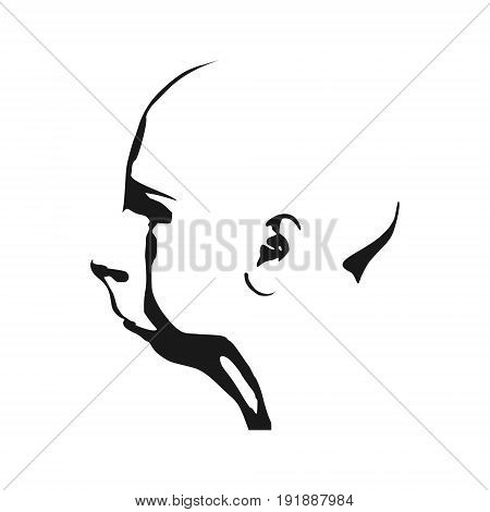 Old lady head silhouette. Face side view.