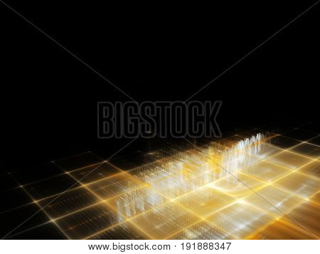 Abstract background element. Fractal graphics series. Three-dimensional composition of repeating grids. Information technology concept. Yellow and black colors.