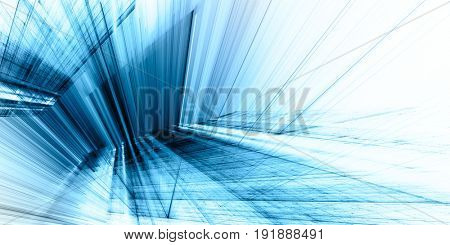 Abstract blue background element. 3d scan series. Fractal graphics. Perspective composition of light and shadow rays.