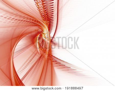 Abstract background element. Fractal graphics. Dynamic composition of curves, blurs and halftone effect. Red and white colors.
