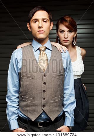 Fashionable Well Dressed Man and Woman Isolated.