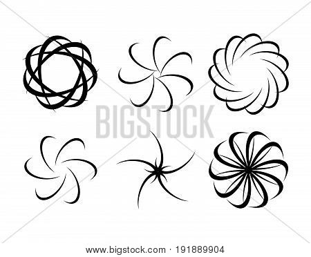 Abstract logo set for business company. Corporate identity design elements. Wave, circle, spring, rotation, segment connect concept. Spiral, swirl, whirlpool logotype collection