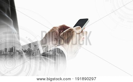 Businessman using smartphone with city,  on white background business communication technology