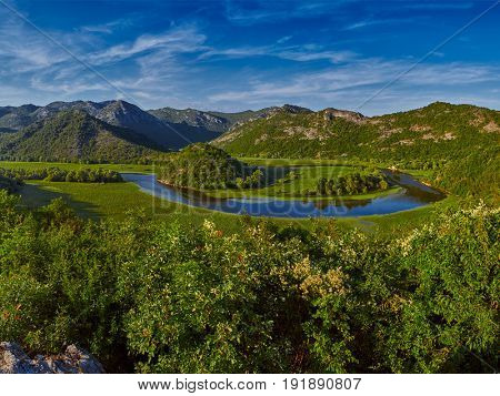 Rijeka Crnojevica river bending in Skadar Lake National Park in Montenegro