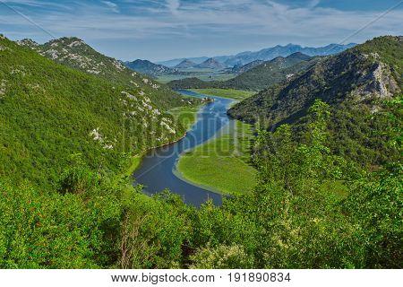 Montenegro Majestic Landscape - Rijeka Crnojevica river bending in Skadar Lake National Park