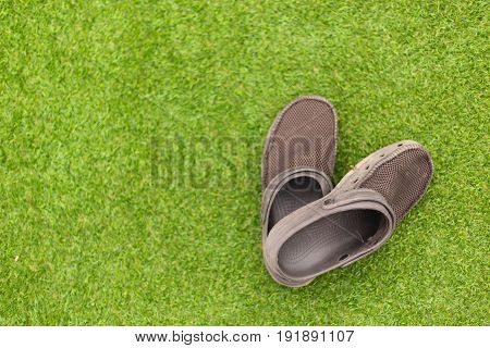 Brown sandals on the green grass background