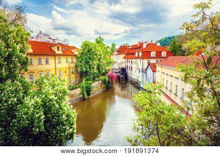 Certovka River in old Prague, Czech Republic