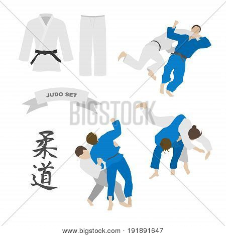Judo vector set. Kimono and throws. Characters of the word judo.