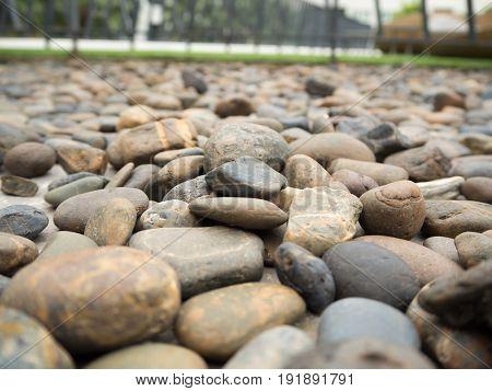 Many stone wall texture background photo .