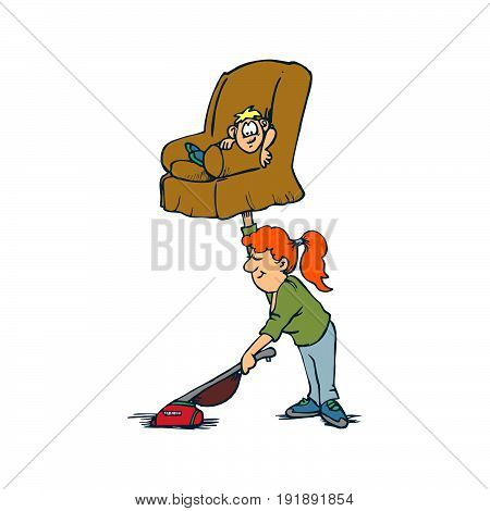 Creative design concepts of housewife activity. Mother and son, housework. Vector illustration