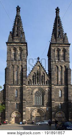 Prague -September 25 2016: Basilica of St Peter and St Pau in Vysehrad Prague.