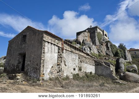 View of the abandoned small Hermitage of Sao Saturnino in the Peninha Sanctuary complex in the Sintra Mountain range near Lisbon Portugal