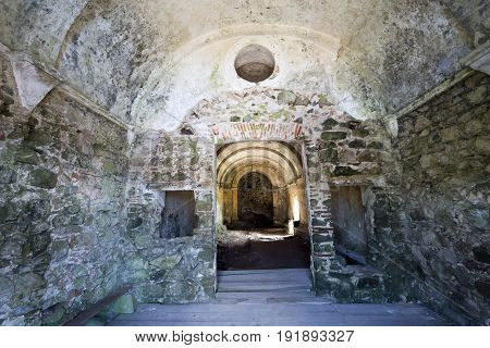 Interior of the abandoned Hermitage of Sao Saturnino in the Sintra Mountain range near Lisbon Portugal