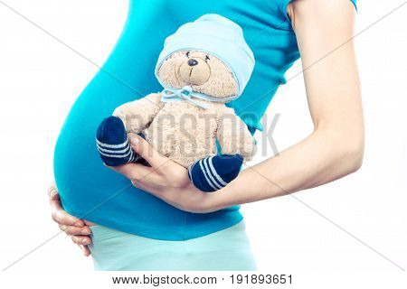 Vintage Photo, Pregnant Woman Holding Fluffy Teddy Bear With Cap For Kids, Expecting For Newborn
