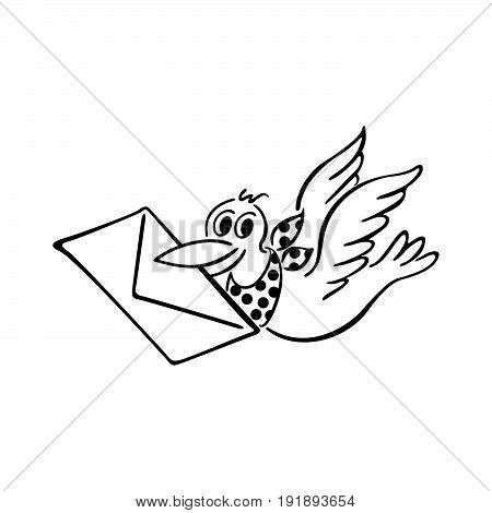 Cute bird delivering letter. outlined cartoon. Vector Illustration design