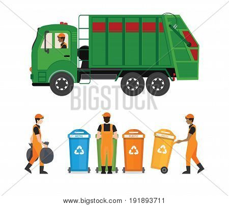 City waste recycling concept with garbage truck and garbage collector isolated on white background. Vector illustration in flat design.