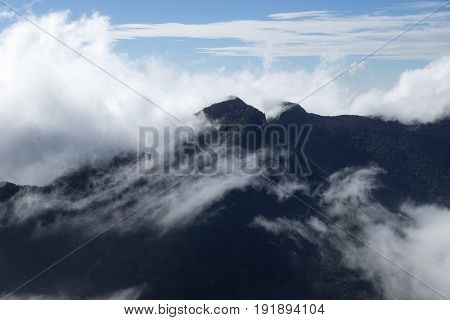 World's End Hortons Plain mountains with fog Sri Lanka