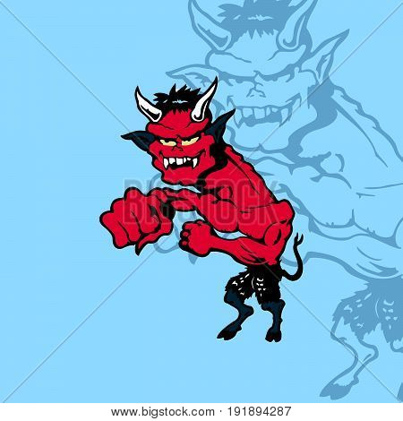 Crazy cartoon devil. cartoon character Vector Illustration.