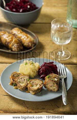 Zrazy polish beef roulades with beetroots and potatoes