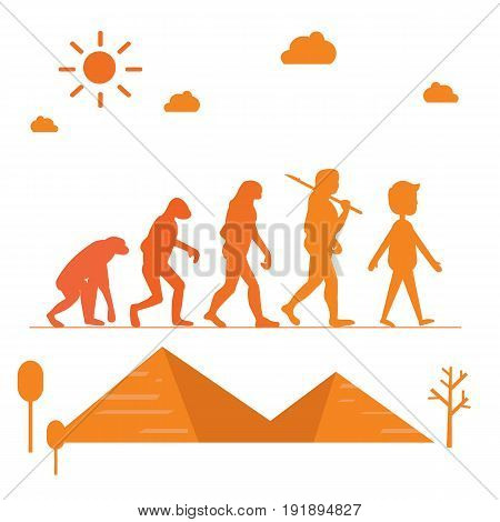 Human evolution. Silhouette progress growth development with pyramid vector illustration