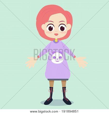Flat cute girl character design vector illustration