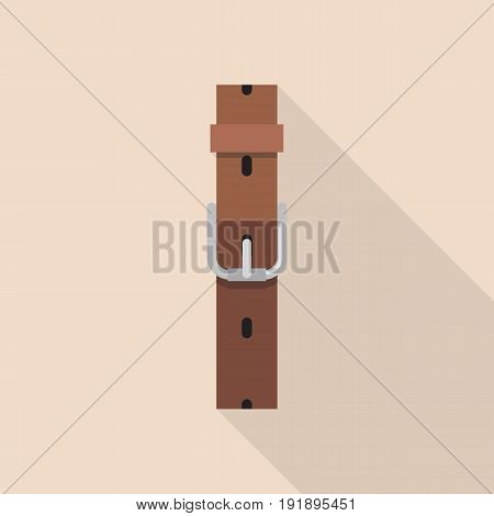 Leather belt with a buckle in flat style. Vector illustration