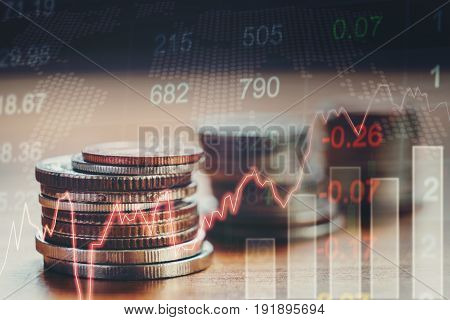 Graph Of Stock Market Coins ,financial Indicator Analysis Abstract Stock Market Data Concept. Stock