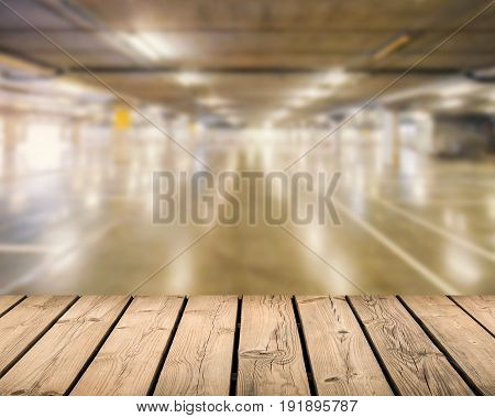 timber wooden counter with car park background