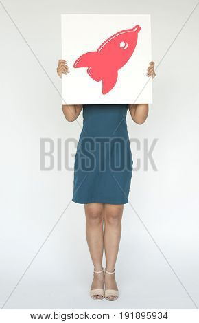 People holding placard rocket spaceship icon