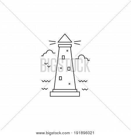 Lighthouse vector thin line icon. Black on white isolated symbol. Logo template, element for travel agency, nautical theme products, tour brochure, excursion banner. Simple mono linear modern design.